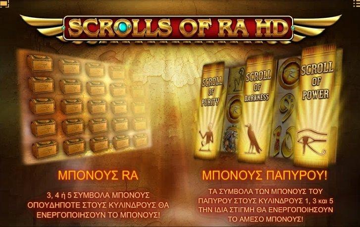 Φρουτάκι Scrolls of Ra λειτουργιες