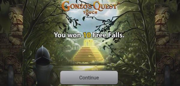 free fall στο φρουτακι gonzo's quest