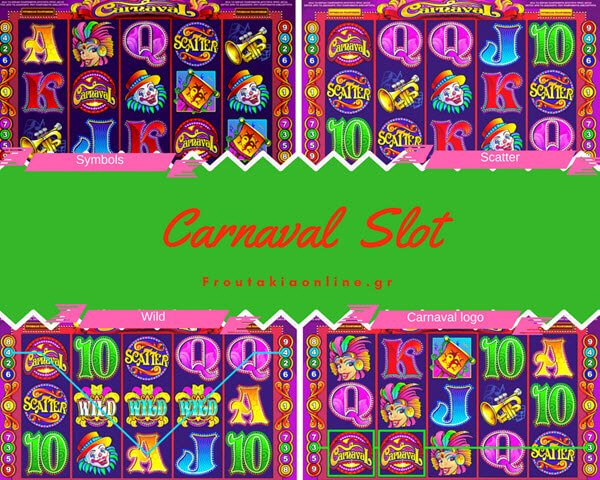 Φρουτάκι Carnaval της Microgaming και τα σύμβολα wild, scatter και το σύμβολο του σταθερού τζακπο