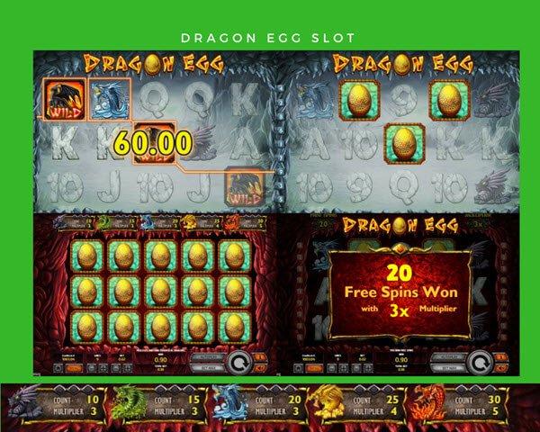 Φρουτάκι Dragon Egg και σύμβολο wild, scatter, δωρεάν περιστροφές, πολλαπλασιαστές κέρδους
