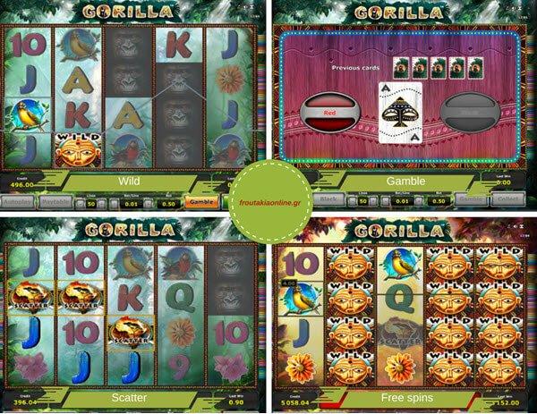 Φρουτάκι gorilla και free spins, σύμβολο scatter, wild και λειτουργία gamble