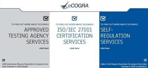 eCOGRA screenshot κεντρικης σελίδας
