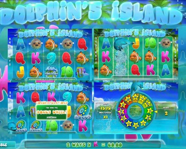 συμβολο wild, scatter, free spins,bonus game, multipliers στο Dolphin's Island slot