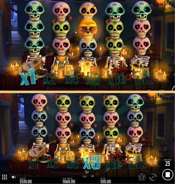 πολλαπλασιαστές κέρδους, σύμβολα που εκρύγνονται και σύμβολο wild στο φρουτακι esqueleto explosivo