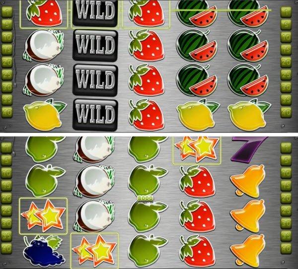 Σύμβολα wild, τυχερά εφτάρια και Scatter στο More Fresh Fruits