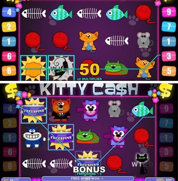 λειτουργιες για το Φρουτάκι Kitty Cash της 1X2 Gaming