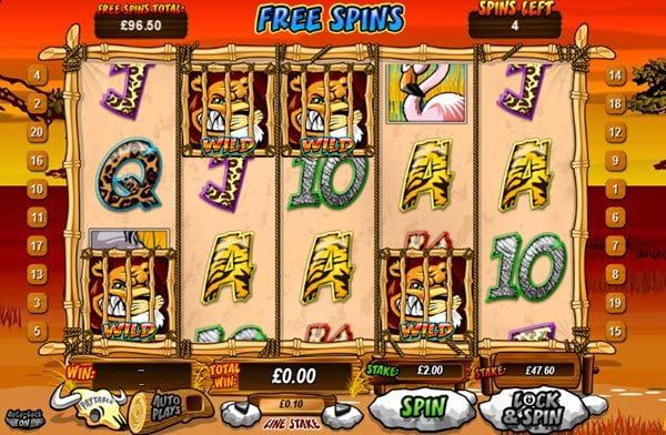 free spinsκαι κλειδωμενα συμβολα wild στο φρουτάκι Wild Gambler της Playtech