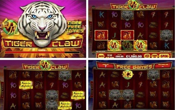 δωρεαν περιστροφές και σύμβολο wild στο Φρουτάκι Tiger claw της Playtech