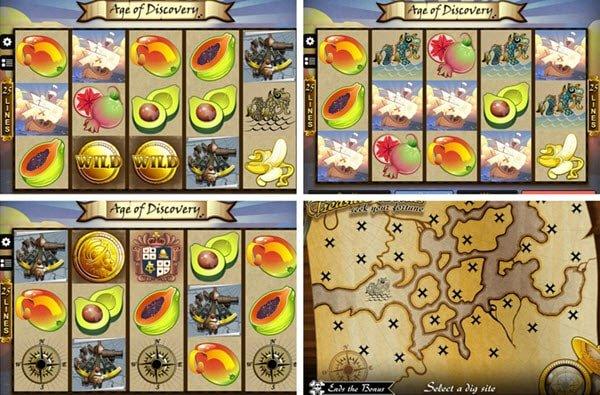 λειτουργίες στο φρουτάκι Age of discovery-treasure bonus