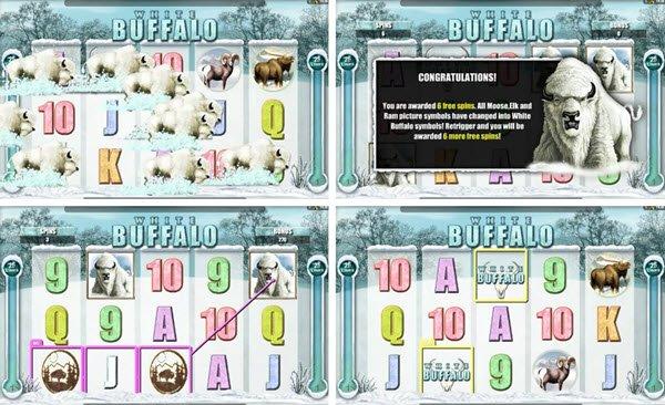 λειτουργίες στο White Buffalo slot -φρουτακια της Microgaming