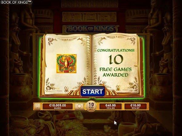 δωρεαν περιστροφές και σύβμολο που επεκτείνεται στους τροχούς στο Book of kings της Playtech